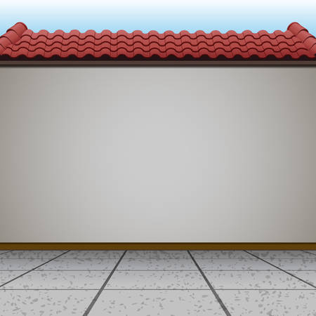 Scene with wall and red roof illustration 일러스트