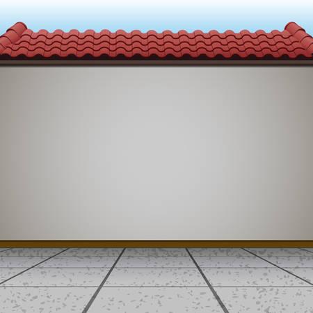 Scène avec mur et toit rouge illustration
