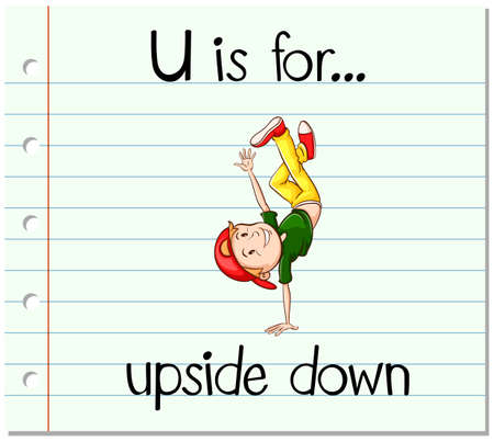 upside: Flashcard letter U is for upside down illustration Illustration