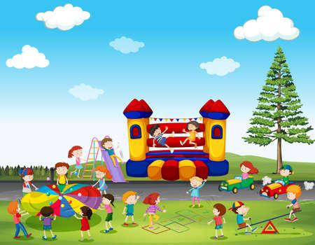 公園の図にゲームを遊んでいる子供たち
