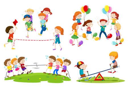 piggyback: Children playing different games illustration