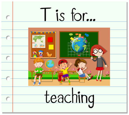 learning english: Flashcard letter T is for teaching illustration