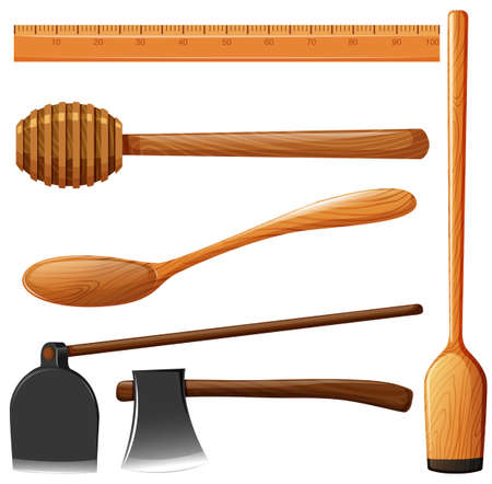 handles: Different kind of wooden equipment illustration