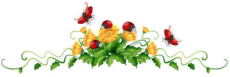 Ladybugs and yellow flowers illustration Illustration