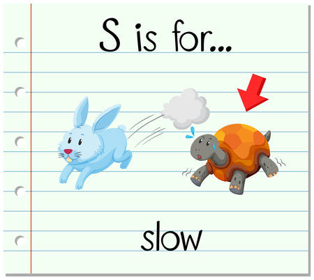 reads: Flashcard letter S is for slow illustration