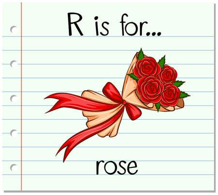 Flashcard letter R is for rose illustration