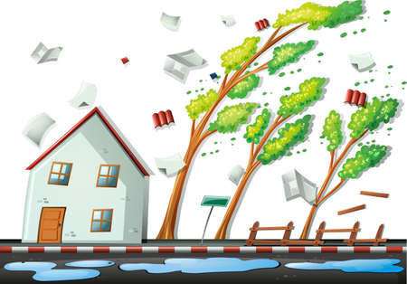 tormenta: Fuerte tormenta en la ilustración de la ciudad