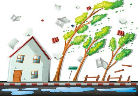 Heavy storm in the city illustration Illustration