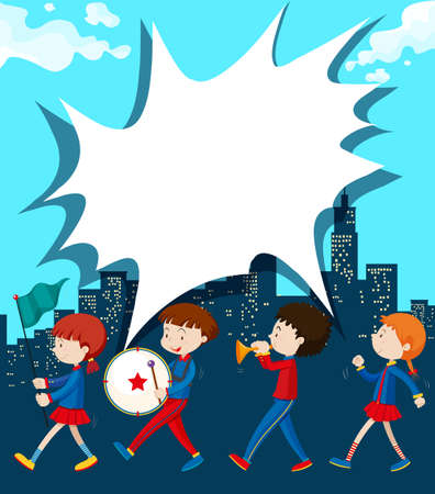 parades: Children marching in the band illustration