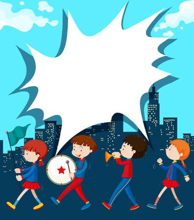 Les enfants marchant dans la bande illustration Vecteurs