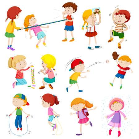 skipping: Children doing different activities illustration