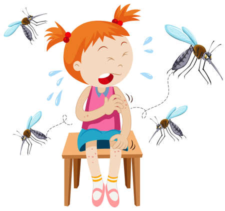 Girl got bitten by mosquitoes illustration 일러스트