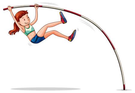 atletismo: Mujer atleta haciendo ilustración salto con pértiga Vectores
