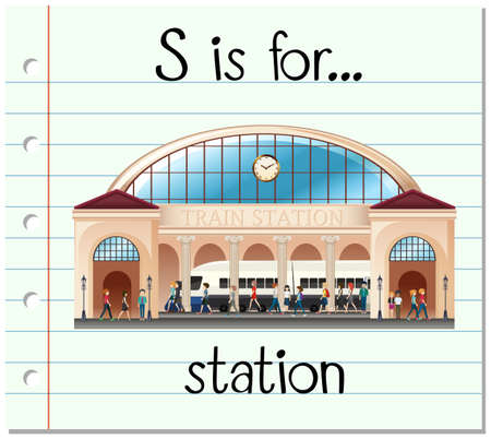 Flashcard letter S is voor station illustratie