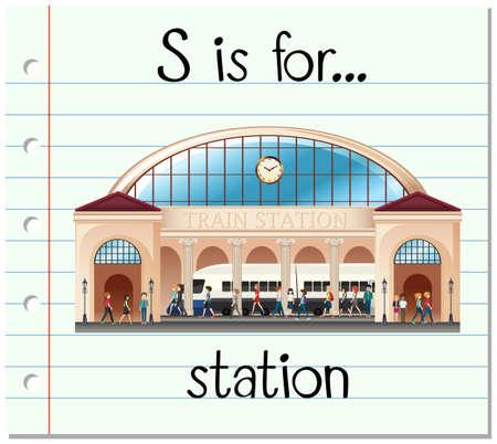 Flashcard lettera S è per stazione di illustrazione