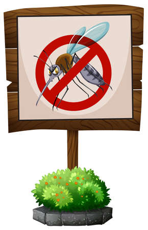 a disease carrier: Wooden sign of no mosquitoes illustration