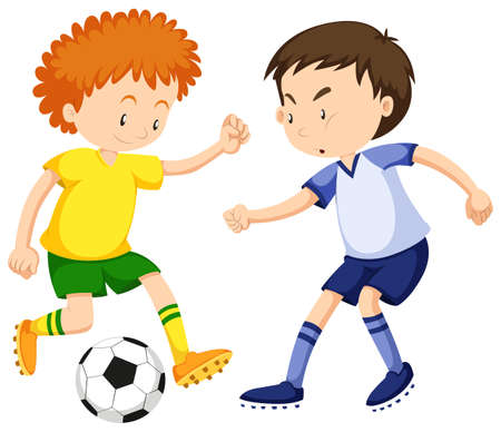 playing soccer: Boys playing soccer together illustration