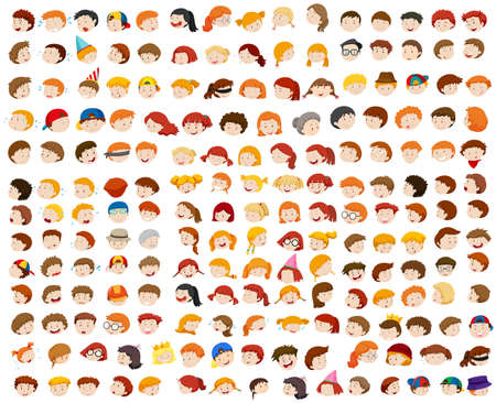 Different faces of man and woman illustration
