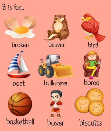 Different words begin with letter B illustration