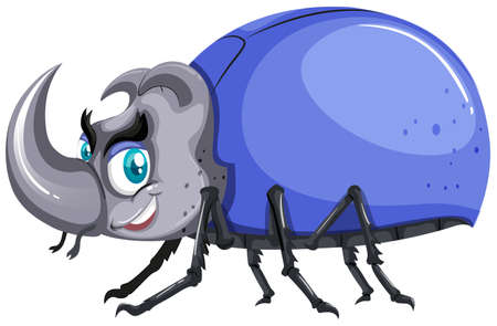 insect: Beetle with blue shell illustration
