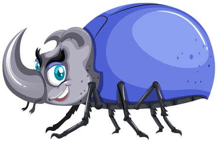 insecto: Escarabajo azul con la ilustración de la cáscara