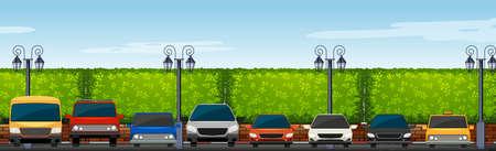 Parkeerplaats vol met auto's illustratie