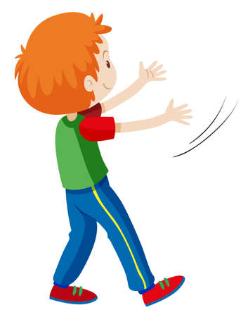 Back of boy with red hair illustration