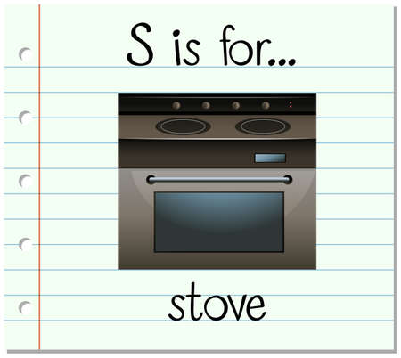 writing tools: Flashcard letter S is for stove illustration Illustration