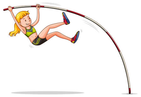 Woman doing high jump illustration Illustration