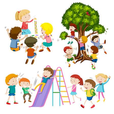 divercio n: Los niños que juegan el juego y la diversión de la ilustración Vectores