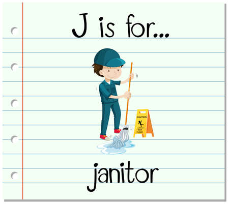 janitor: Flashcard letter J is for janitor illustration