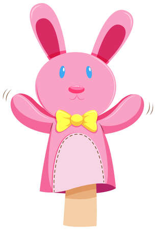 pink rabbit: Pink rabbit hand puppet illustration