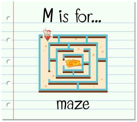 Flashcard letter M is for maze illustration