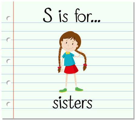 children s art: Flashcard letter S is for sisters illustration