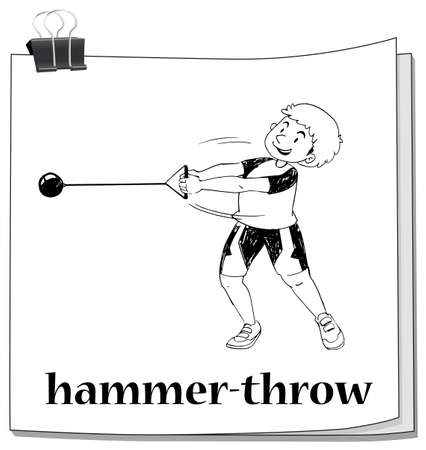 track and field: Doodle of people doing hammer-throw illustration