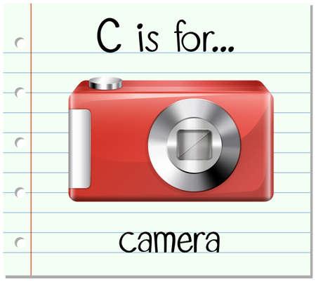 Flashcard letter C is for camera illustration