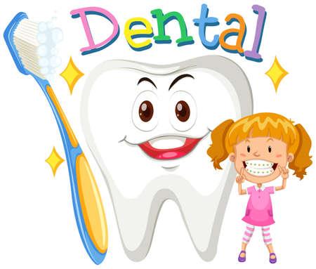 healthy kid: Girl with clean teeth illustration