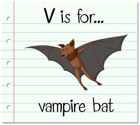 vampire bat: Flashcard letter V is for vampire bat illustration