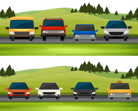 Cars parking on the road illustration