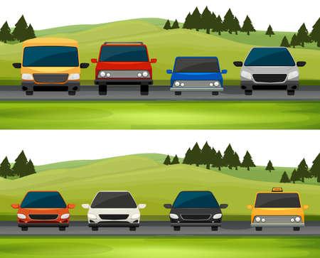 Voitures parking sur l'illustration de la route