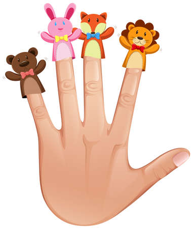 role play: Four finger puppets on human hand illustration