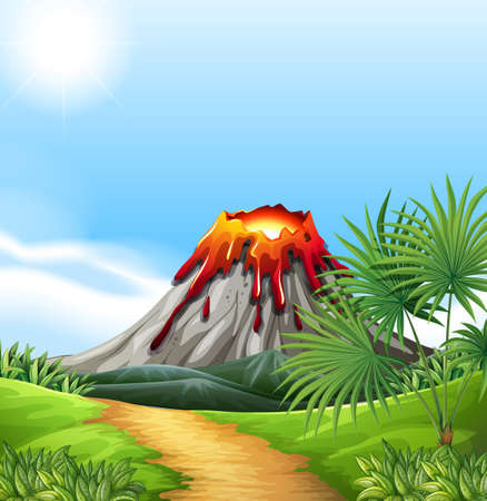 Scene with volcano eruption illustration Vectores