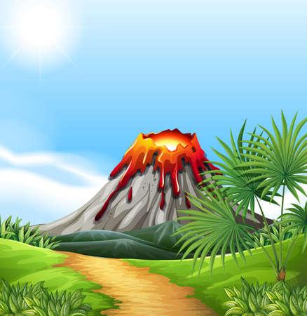 eruption: Scene with volcano eruption illustration Illustration