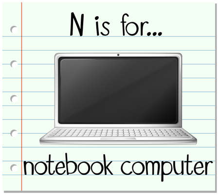 notebook computer: Flashcard letter N is for notebook computer illustration
