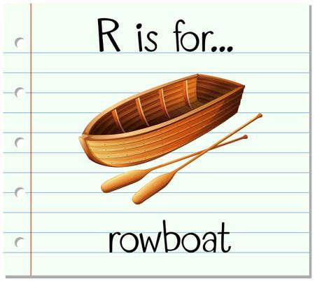 rowboat: Flashcard letter R is for rowboat illustration Illustration