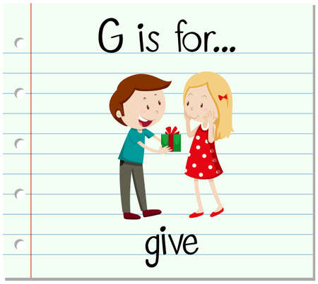 give: Flashcard letter G is for give illustration