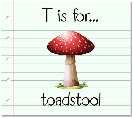 a toadstool: Flashcard letter T is for toadstool illustration