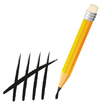 tally: Yellow pencil and counting lines illustration