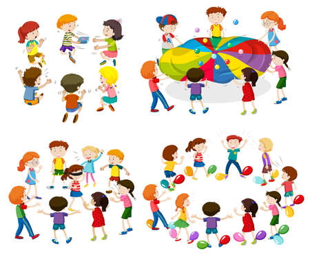 Los niños que juegan diferentes juegos de la ilustración Ilustración de vector