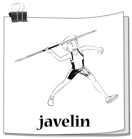 art activity: Doodle of man doing javelin illustration